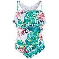 Monsoon Palmela Crochet Swimsuit, White, Size Age: 9-10 Years, Women