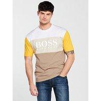 Boss Casual Colour Block T-Shirt, Beige, Size M, Men