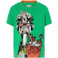 Boys, Monsoon Ozzy Ostrich Tee, Green, Size 3-6 Months