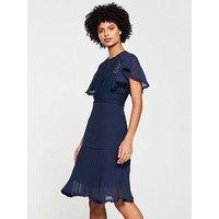 V By Very Pleated Lace Frill Hem Dress - Navy