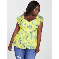 V by Very Curve Pleated Blouse - Yellow, Yellow Print, Size 14, Women