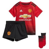 Boys, adidas Adidas Manchester United 18/19 Home Baby Kit, Black/Red, Size 3-6 Months