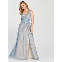 Little Mistress Petite V Neck Split Front Maxi Dress