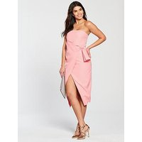 Lavish Alice Bandeau Wrap Over Midi Dress - Pink, Pink, Size 16, Women