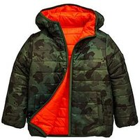 Boys, Mini V by Very Slim Fit Reversible Camo Padded Jacket, Multi, Size Age: 12-18 Months