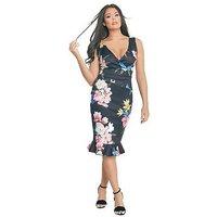 Jessica Wright Rosalina Floral Print Bodycon Midi Dress, Multi, Size 10, Women