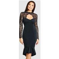 Jessica Wright Calancia Lace Sleeve Fluted Hem Midi Dress, Black, Size 18, Women