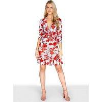 Girls on Film Poppy Print A-Line Dress With Frilly Hem, Print, Size 12, Women
