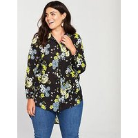 V by Very Curve Longline Back Detail Blouse - Printed, Print, Size 26, Women