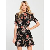 V by Very Ruched Sleeve Frill Tea Dress - Floral, Multi, Size 10, Women