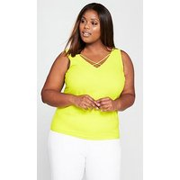 V by Very Curve Cross Neck Cami - Chartreuse, Chartreuse, Size 16, Women