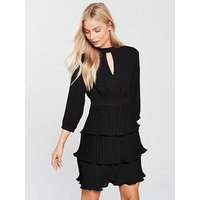 V by Very Choker Pleated Tiered Dress - Black, Powder Blue, Size 12, Women