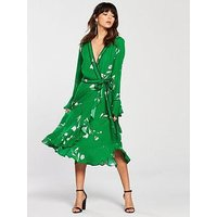 V by Very Printed Wrap Dress - Green, Green Print, Size 8, Women