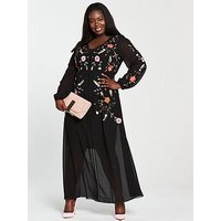 V By Very Curve Embroidered Maxi Dress - Black