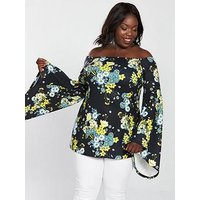 V by Very Curve Bardot Fluted Sleeve Tunic - Print, Print, Size 16, Women