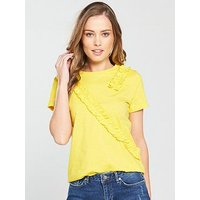 V by Very Frill Trim T-Shirt, Yellow, Size 12, Women