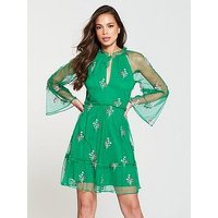 V by Very Embroidered Dobby Dress - Green, Green, Size 18, Women