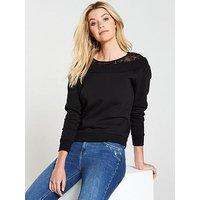 V by Very Lace Insert Sweat, Black, Size 12, Women
