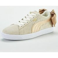 Puma Suede Bow Varsity - White/Gold , White/Gold, Size 4, Women