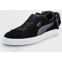 Puma Suede Bow Satin - Black, Black, Size 6, Women
