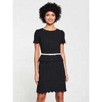 V by Very Scallop Edge Dress -Black/Blush, Blush, Size 20, Women