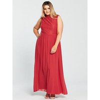 Little Mistress Curve Sleeveless Lace Top Maxi Dress - Cayenne