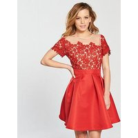 Little Mistress PETITE Mesh Top Embroidered Lace Skater Dress - Cayenne Red, Cayenne, Size 14, Women
