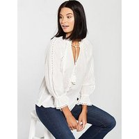 V by Very Dobby Blouse - Ivory, Ivory, Size 8, Women