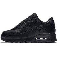 Nike Childrens Air Max 90 Leather - Black, Black/Black, Size 10