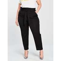 V by Very Curve THE TAPERED LEG TROUSER, Black, Size 22, Women