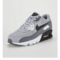 Nike Air Max 90 Mesh Junior Trainer - Grey/Black , Grey/Black, Size 3