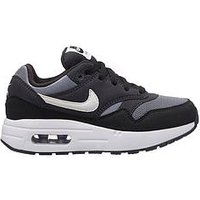 Nike Air Max 1 Childrens Trainer, Black/Grey, Size 12