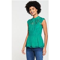 V by Very Lace Twist Neck Top - Green, Green, Size 18, Women