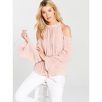 V by Very Ruched Sleeve Cold Shoulder Top - Blush, Blush, Size 12, Women