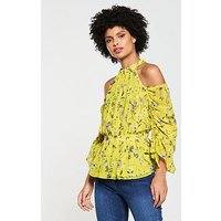V by Very Ruched Sleeve Cold Shoulder Top - Yellow, Yellow Floral, Size 10, Women