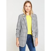 V by Very Check Blazer, Check, Size 10, Women
