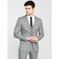 V by Very SUBTLE GREY CHECK SLIM JACKET, Grey, Size 42, Length Regular, Men