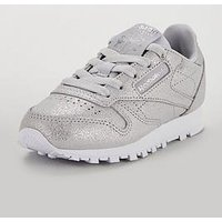 Reebok Classic Leather Childrens Trainer, Silver, Size 10