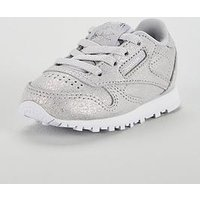Reebok Classic Leather Infant Trainer, Silver, Size 9