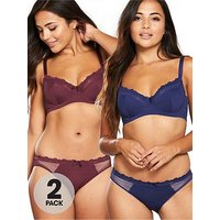 DORINA Curves Non Padded Paula 2 Pack Bra, Red/Blue, Size 34F, Women