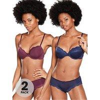 DORINA Ida Hipster Brief (2 Pack) - Blue/Red, Blue/Red, Size 16, Women