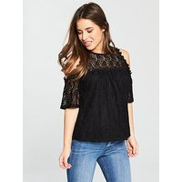 V by Very Petite Cold Shoulder Lace Top, Black, Size 8, Women