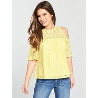 V by Very Petite Cold Shoulder Lace Top - Yellow, Yellow, Size 12, Women