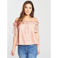 V by Very Petite Ruffle Bardot Lace Top - Blush, Blush, Size 10, Women