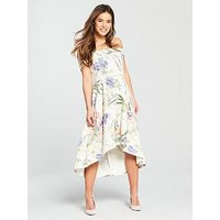 V By Very Petite Bardot Scuba Prom Dress - Print