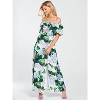 V by Very Petite Bardot Ruffle Maxi Dress - Printed , Print, Size 10, Women