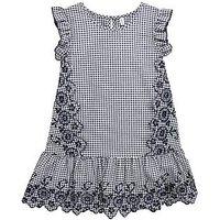 Mini V by Very Girls Black Embroidered Gingham Dress, Black, Size 4-5 Years, Women