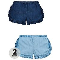 Mini V by Very Pack of 2 Girls Tencel Ruffle Shorts, Multi, Size Age: 3-6 Months, Women