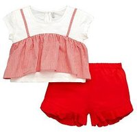 Mini V by Very Girls Top and Short Set - Red/Gingham, Red, Size Age: 3-4 Years, Women