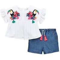 Mini V by Very Girls Toucan Embroidered Top And Short Set, Multi, Size Age: 4-5 Years, Women